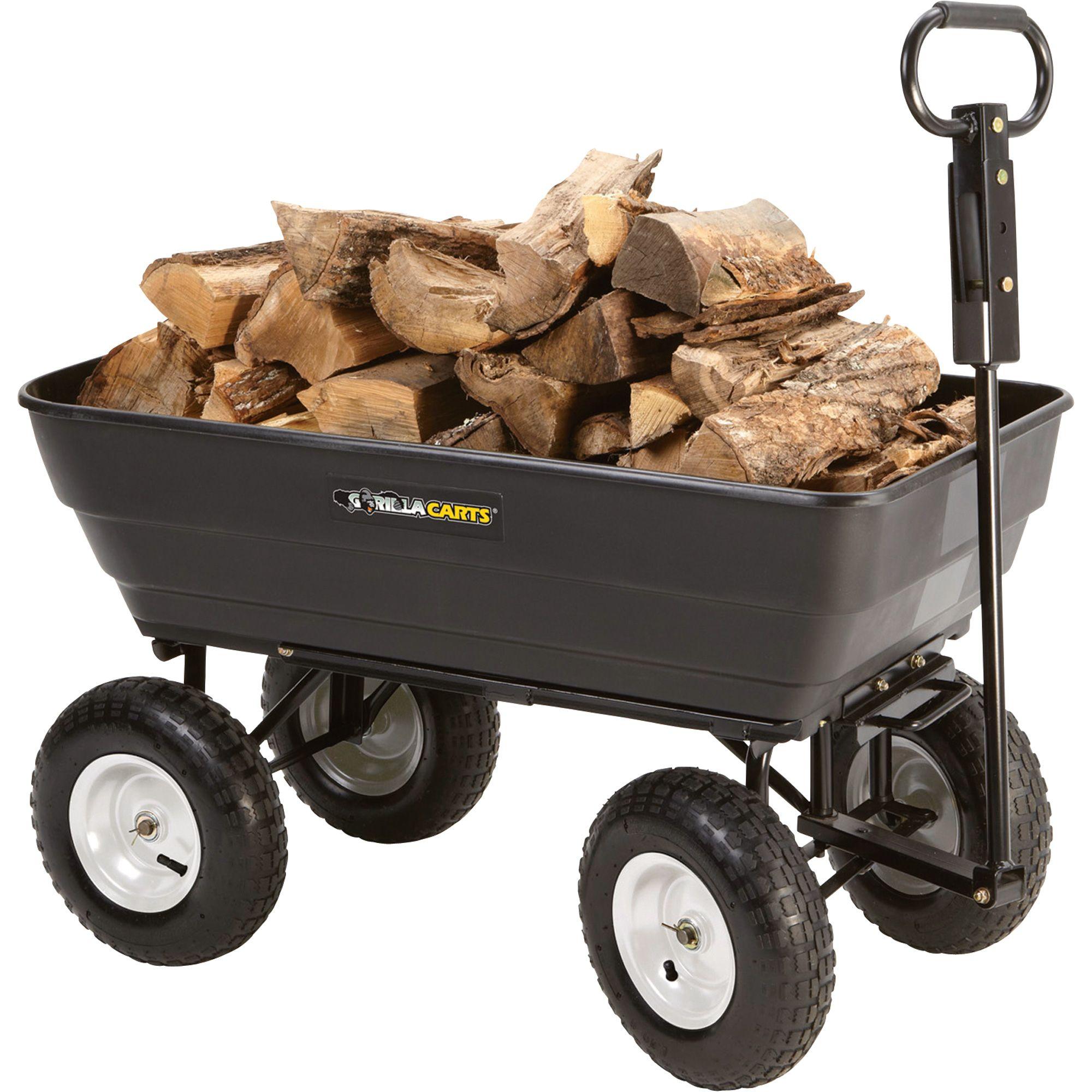 Gorilla Carts Dump Cart. The cart's patented quickrelease