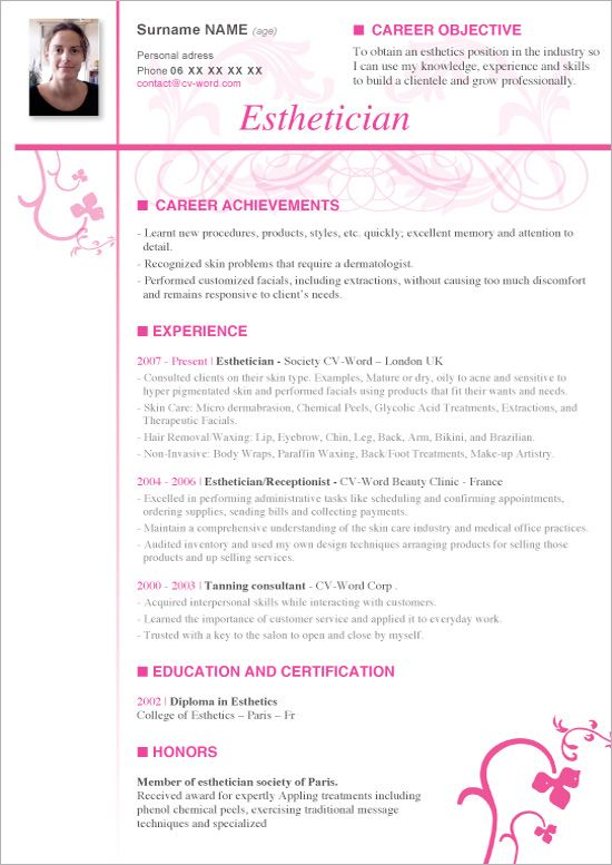 Download Cv Word Template Esthetician Esthetician Resume Cover Letter For Resume Resume No Experience