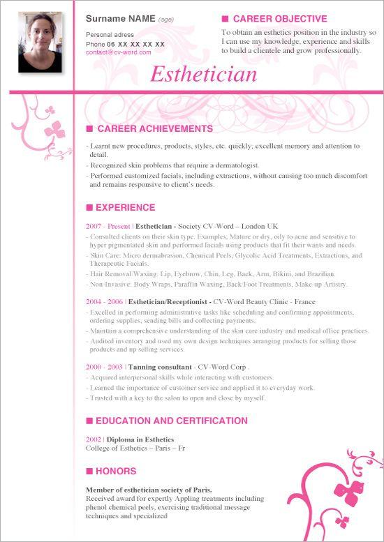 Pin oleh jobresume di Resume Career termplate free  Esthetician resume Resume no experience