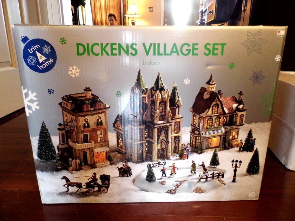 Trim A Home Dickens Village Set Lighted Bldgs Skating Pond Euc In Original Box Dickens Village Original Box Trim