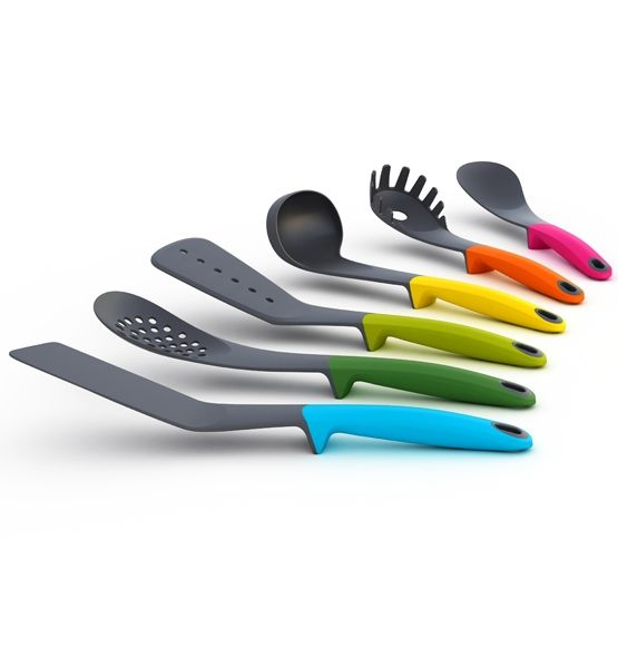 Messy Kitchen Counter: Colorful Kitchen Ware ( I Like How The Handles Make The