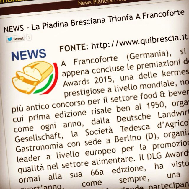 Anche PianetaPane, il portale nazionale dei panificatori, parla di noi è del nostro ultimo successo ai DLG International Awards, gli Oscar Internazionali del Gusto di Francoforte. http://www.pianetapane.it/index.php?option=com_content&view=article&id=1650:news-la-piadina-bresciana-trionfa-a-francoforte&catid=71&Itemid=101 #amarcordbs #dlg #dlg2015 #dlgaward #dlgawards #dlgaward2015 #dlgawards2015 #dlginternationalaward #dlginternationalawards #dlginternationalaward2015 #pianetapane