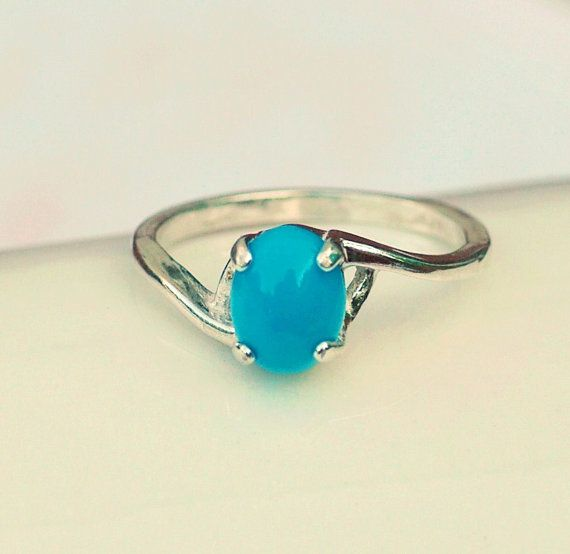 Turquoise Ring  Sterling Silver Natural Cabachon by FizaDesigns, $44.00