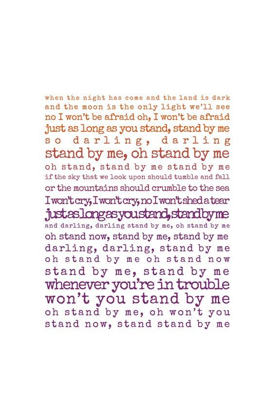 Stand By Me Print, song lyrics print, Gift for husband, Gift for wife, song lyrics first dance anniv #excelwordaccessetc