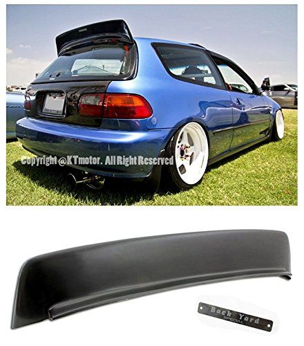 For 92 95 Honda Civic 3Dr Hatchback BYS Style ABS Plastic Rear Roof Wing Spoiler Lip W Silver Chrome Emblem EG SI Type R 1992 1993 1994 1995 93 94