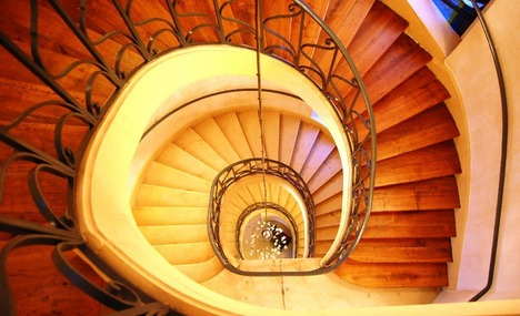 The Beautiful Spiral Staircase Viewed From Above Stairway To