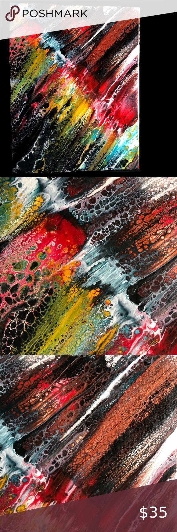 Original Fluid Acrylic Abstract Leap Streak Abstract Handmade Wall Art Canvas Art Wall Decor