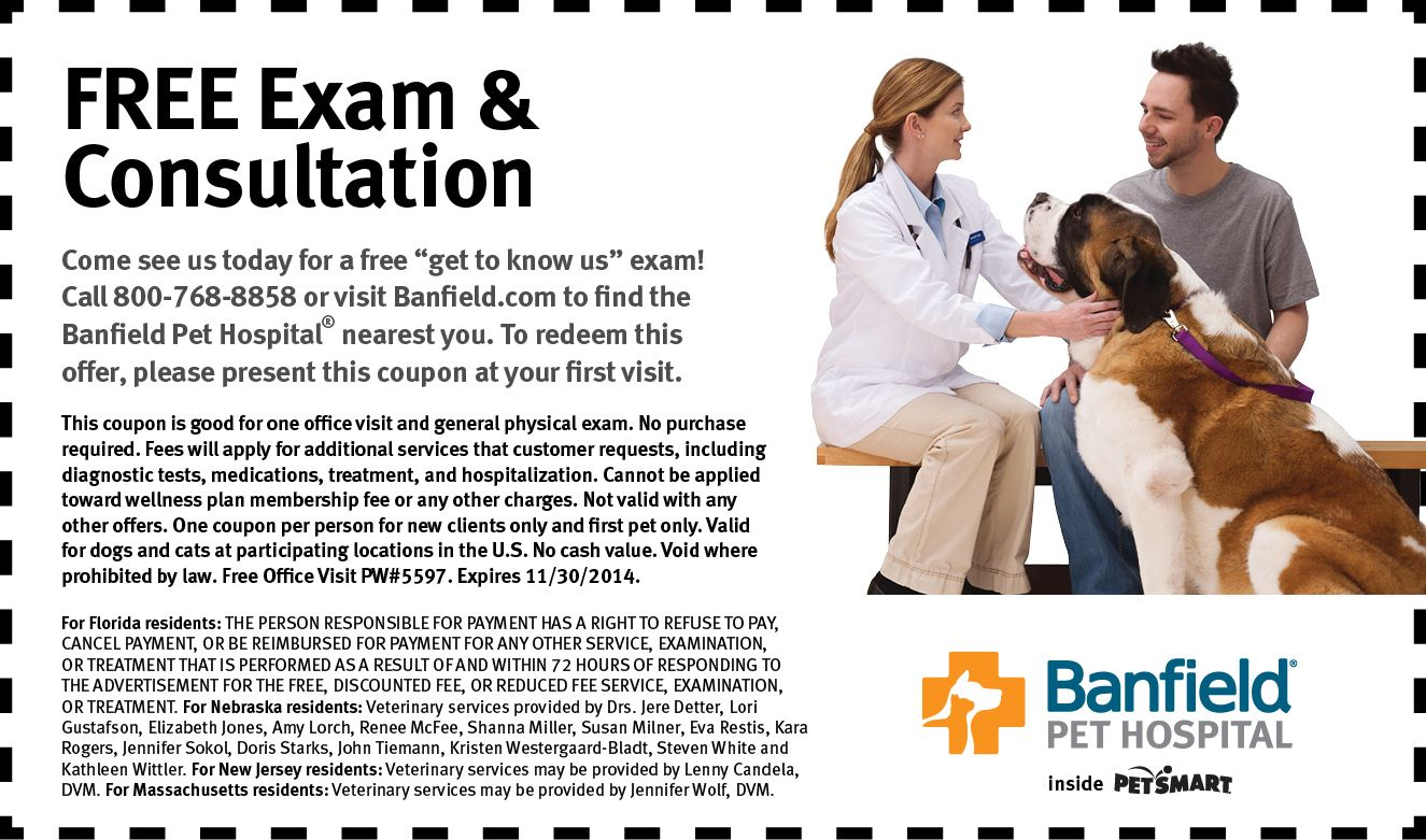 picture about Banfield Coupons Printable known as Banfield Puppy Clinic in just PetSmart Totally free Canine Examination and