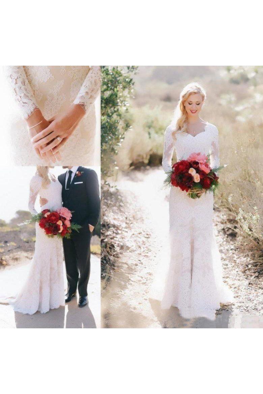 Lace long sleeve country vneck elegant garden wedding dresses