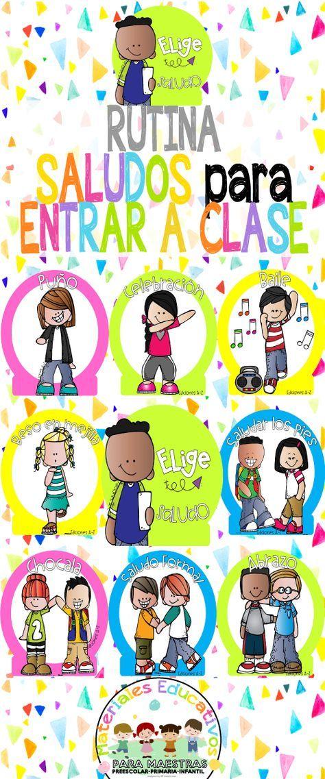 Rutina Saludos para Entrar a Clase   Materiales Educativos para Maestras  Decoramos nuestra clase con divertidos carteles para saludos antes de entrar a clase, una manera de motivar a los alumnos a e is part of Bilingual classroom -