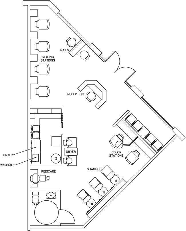 Beauty salon floor plan design layout 890 square foot for Beauty salon layout