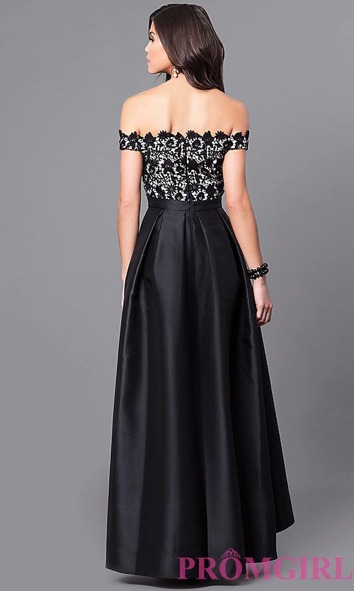 addc76bac3a Image of off-the-shoulder high-low prom dress with lace. Style  LP-24292  Back Image