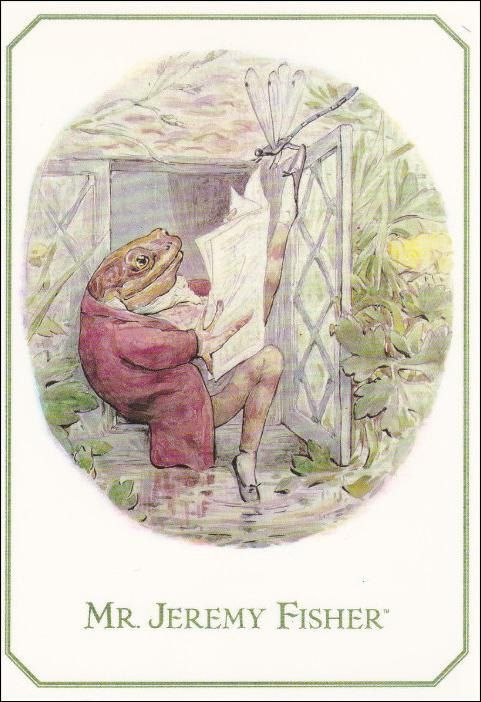 Mr. Jeremy Fisher frog reading the by sharonfostervintage on Etsy, $4.00