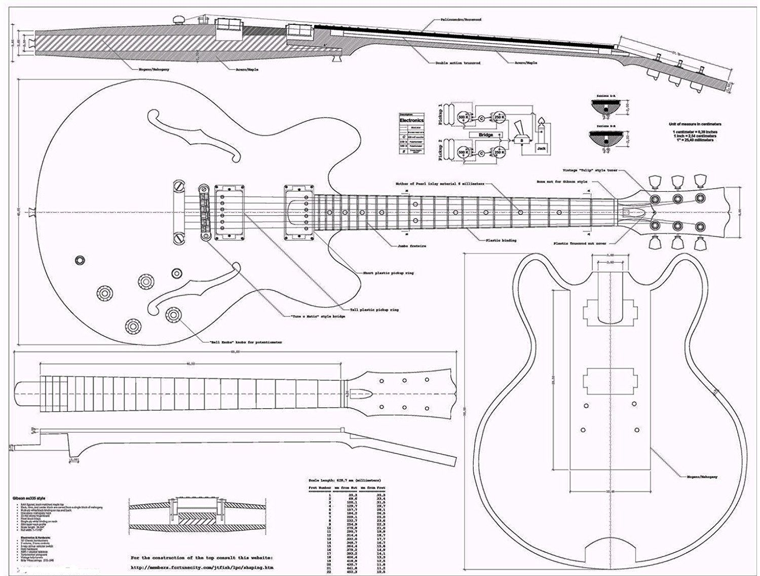 gibson es335 jazz guitar plans full scale how to buildgibson es335 jazz guitar plans full scale [ 1500 x 1136 Pixel ]