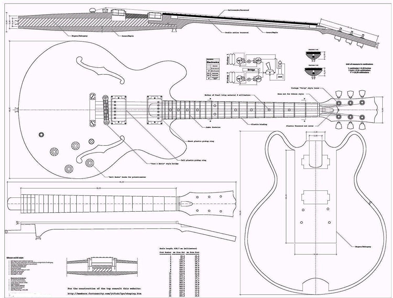 medium resolution of gibson es335 jazz guitar plans full scale how to buildgibson es335 jazz guitar plans full scale