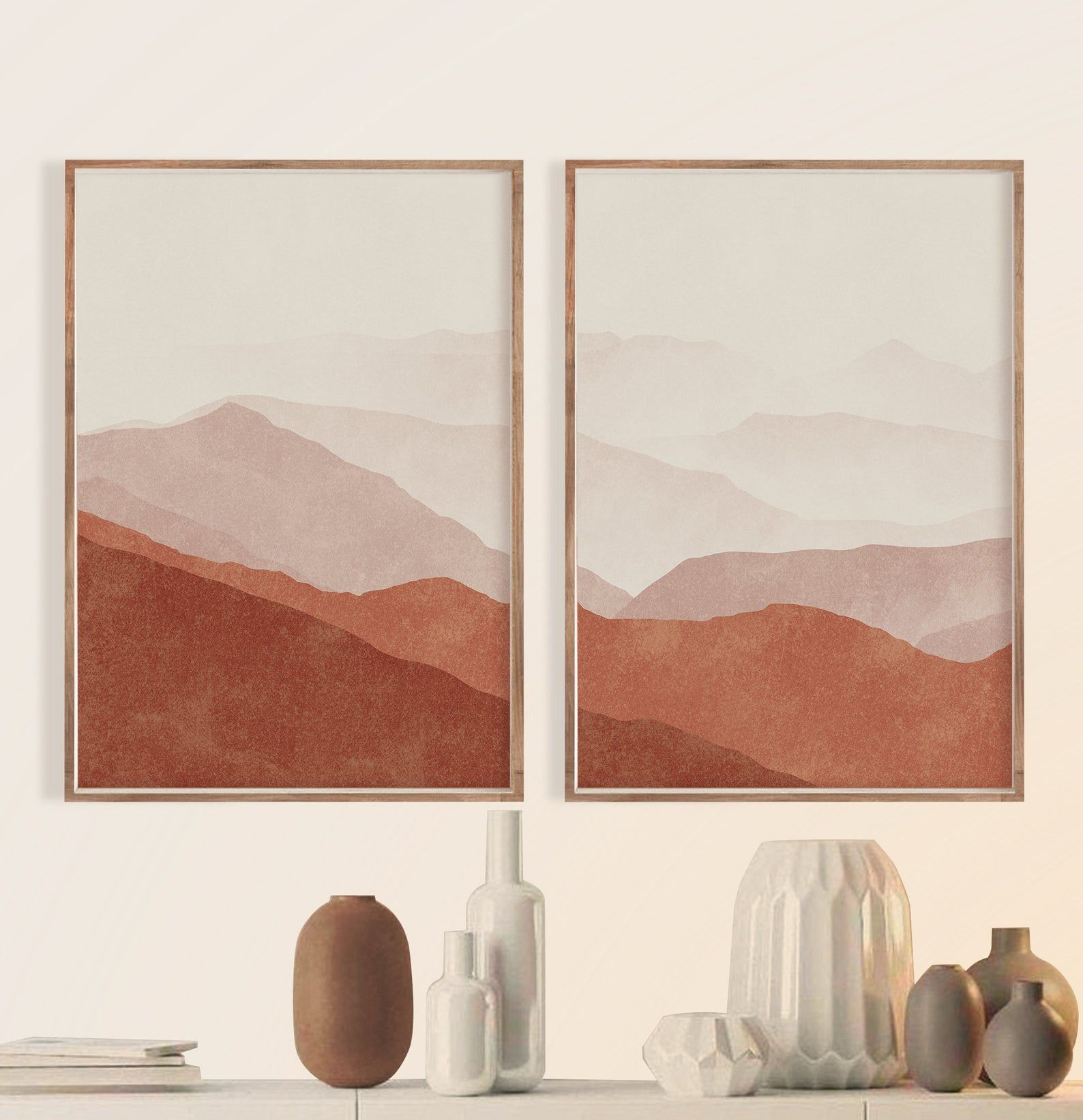 Interior Decor Abstract Set Of 2 Burnt Orange Prin