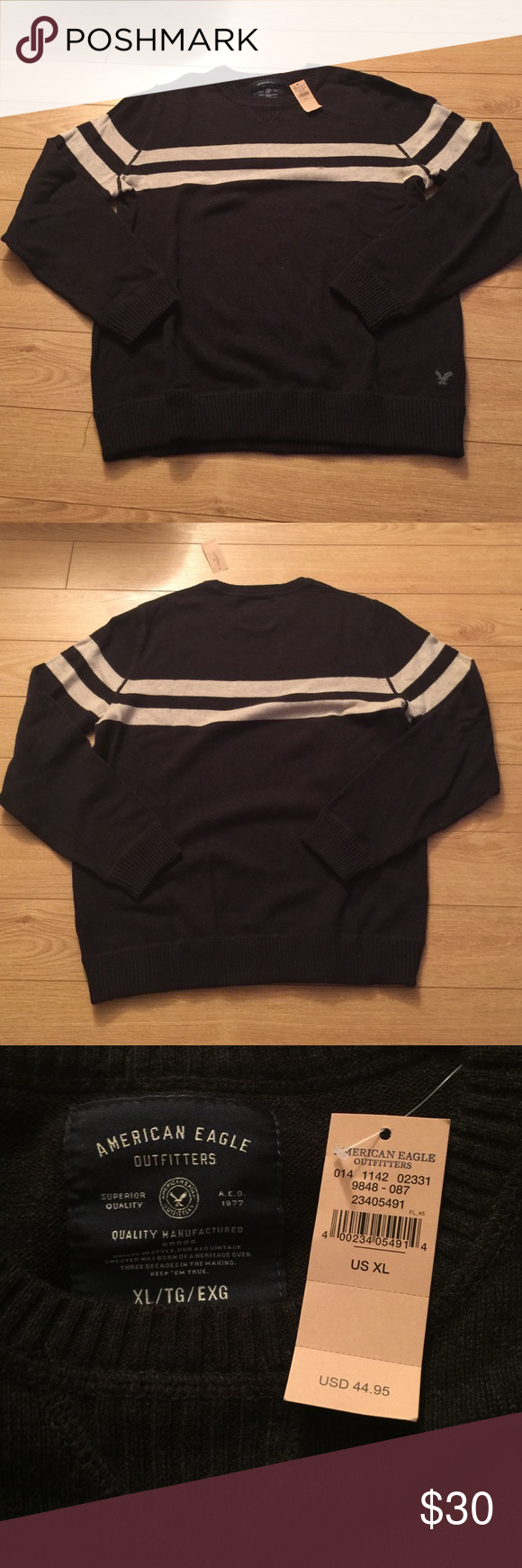 NWT AE Crewneck Sweater Charcoal gray with light gray stripes Crewneck sweater. Never been worn (NWT). XL, 100% Cotton. American Eagle Outfitters Sweaters Crewneck