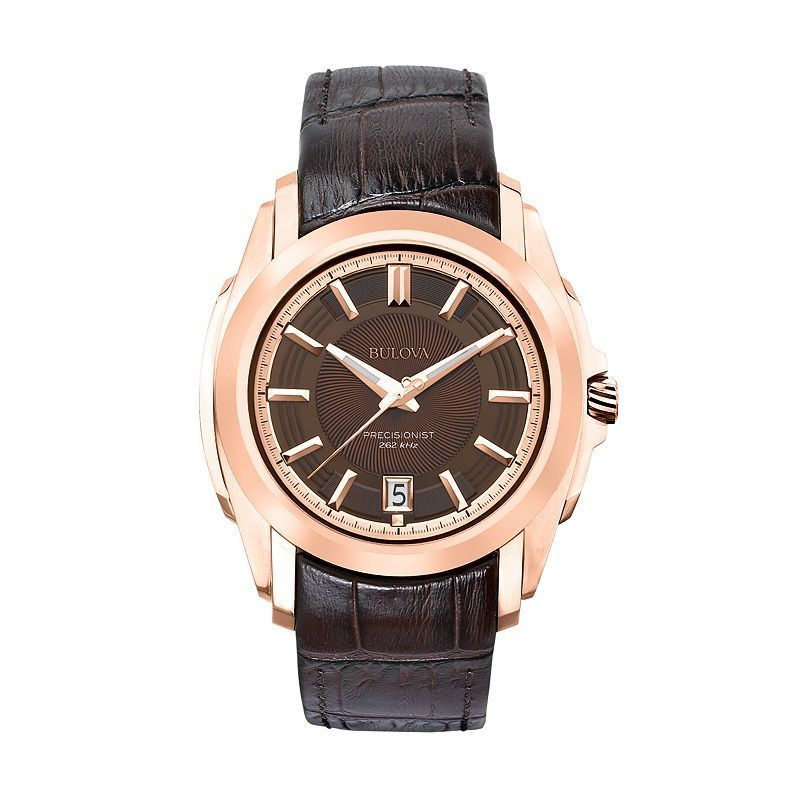 Bulova Precisionist Stainless Steel Rose Gold Tone Leather Watch - Men, Brown