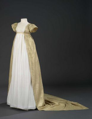 "Regency gown - probably for evening since it has short sleeves and  it a little more ""fancy"""