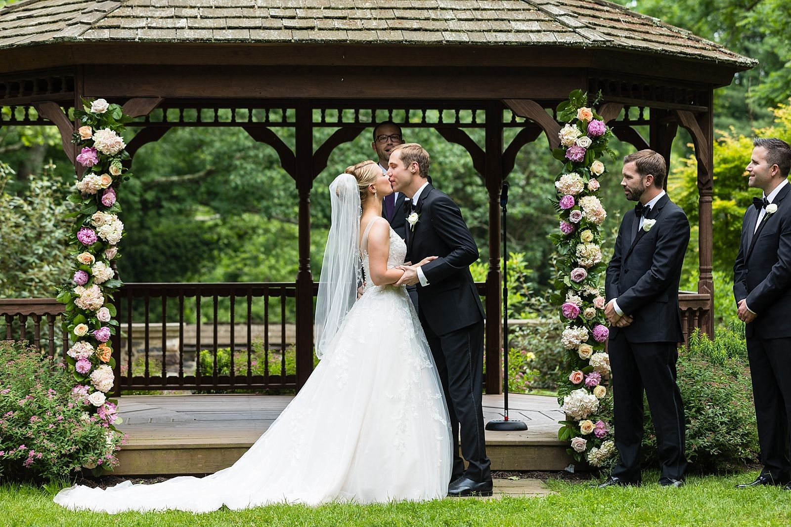 First Kiss Outdoor Ceremony Gazebo Ceremony Park Weddings Wedding Ceremony Photos Wedding Ceremony Backdrop