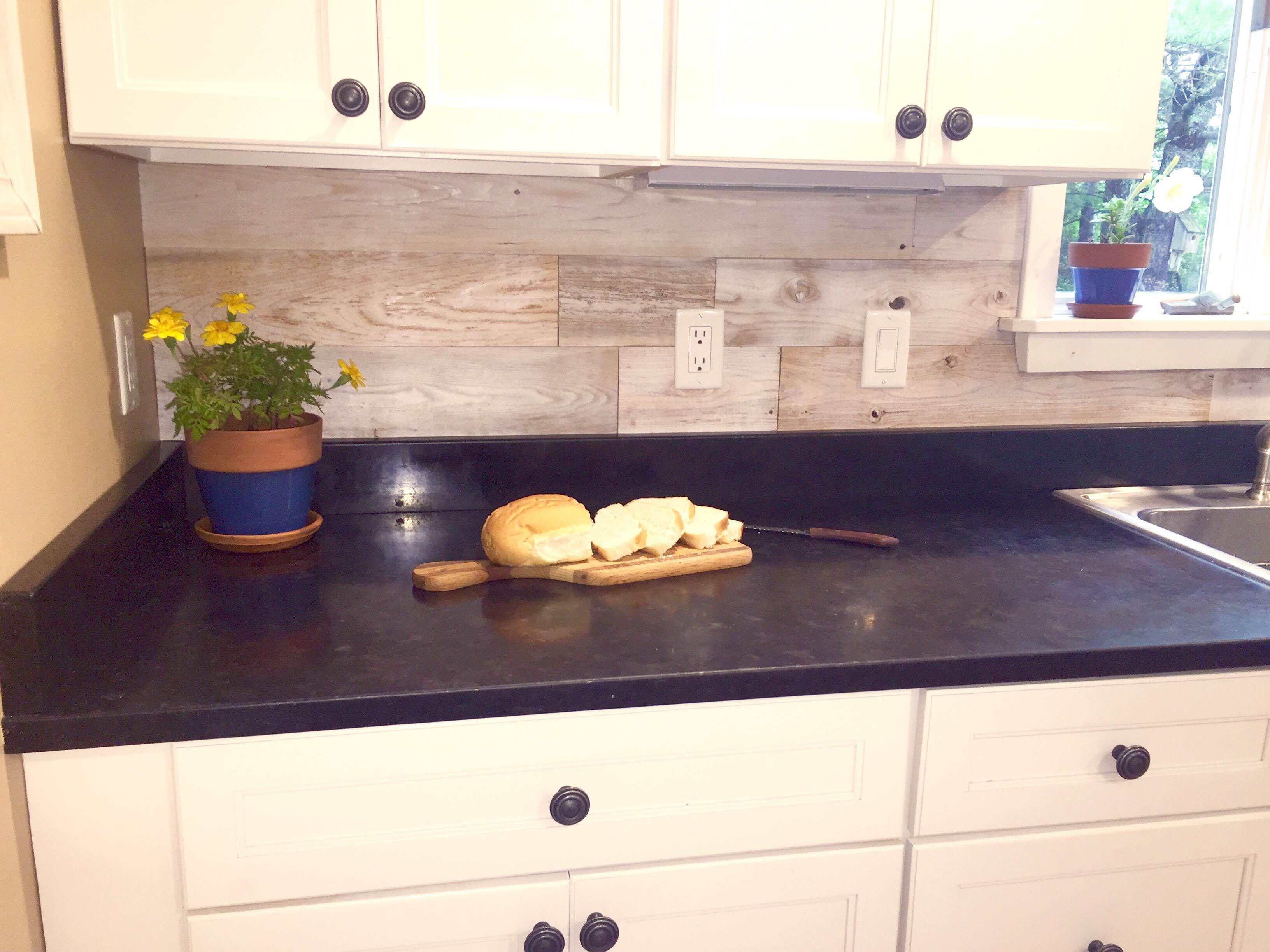 "5"" Whitewash   Peel, stick wood, Kitchen remodel, Kitchen ..."