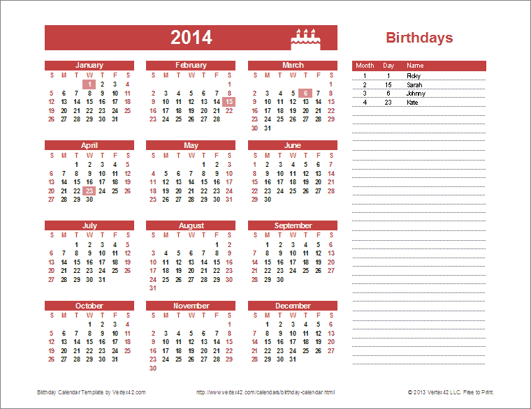 Yearly Birthday Calendar Template For Excel You Can Update The Year