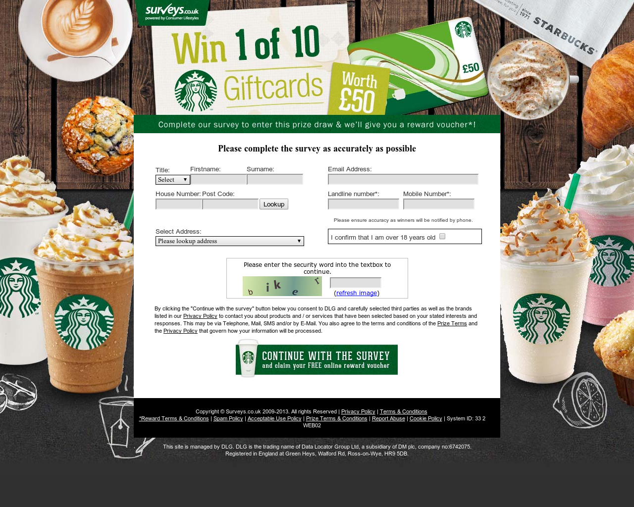Win  Of  Starbucks Gift Cards  Free Offer    Form