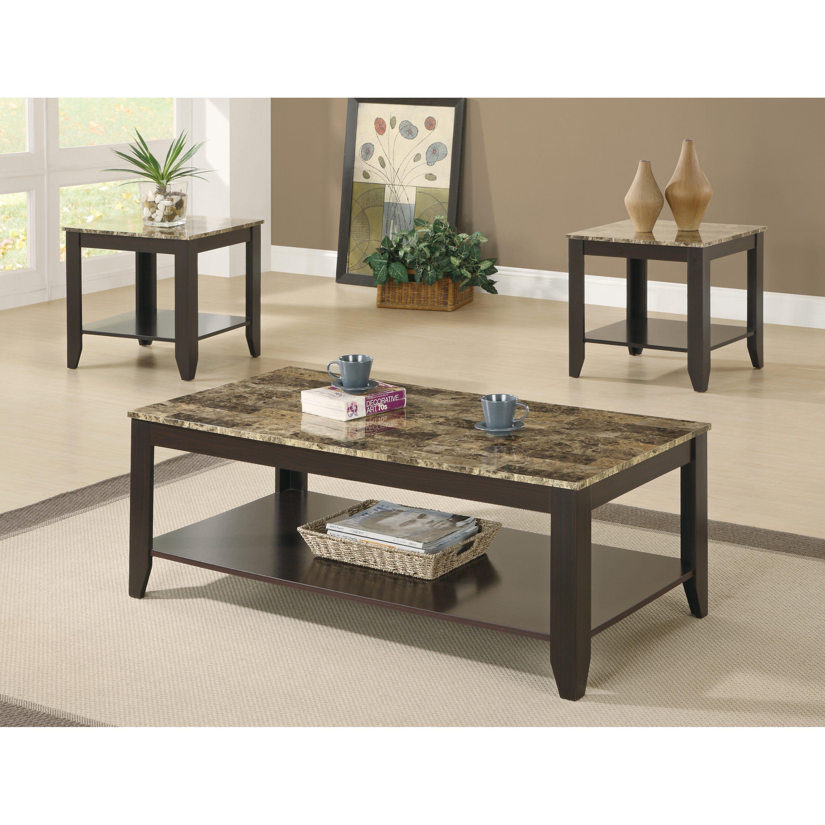 monarch specialties cappuccino 3 piece coffee table set