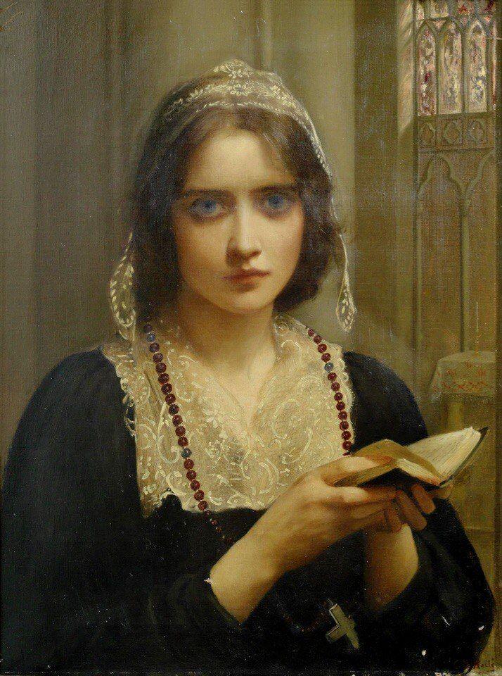 Эдвард Чарльз Галле (Edward Charles Halle, 1846-1914) – английский художник, работавший в историческом жанре.    На вечерне х.,м._61 х 46_Частное собрание