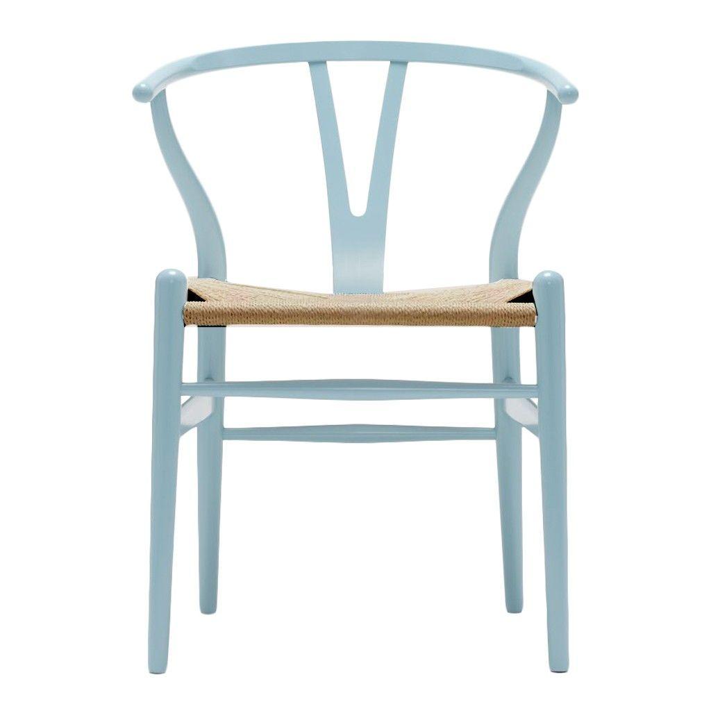Chaise Wishbone Ch24 Hêtre Bleu Clair Assise Corde Naturelle