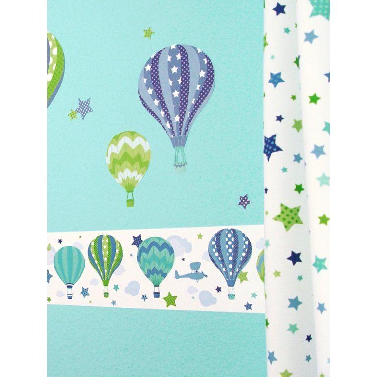 Dinki Balloon Kinder Bordüre Heißluftballons blau/grün