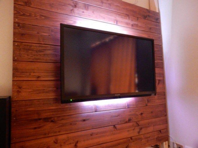 Ledテープライトで間接照明 壁掛けテレビが更におしゃれになったよ