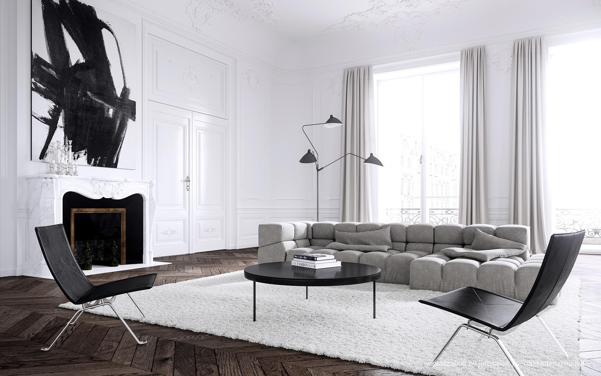 PARIS APARTMENT Interior Design By Jessica Vedel. Puristic And Minimalistic  Interior Of A Living Room. Excellent Symbiosis Of Classic With Modernity.