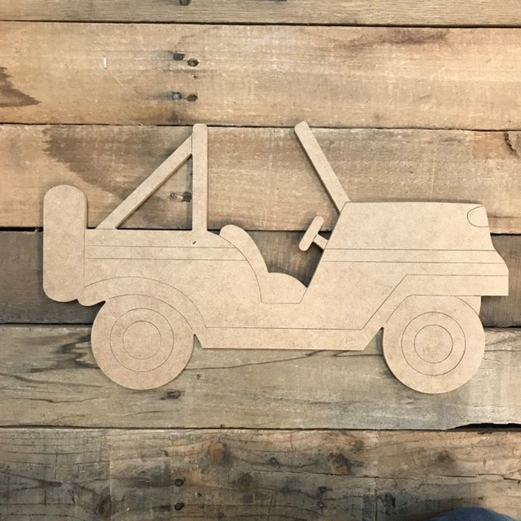Jeep Without Top Cutout Unfinished Shape Paint By Line Wooden Crafts Wood Cutouts Wooden Signs