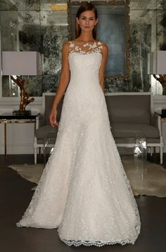 Illusion A-Line Wedding Dress in Beaded Lace. Bridal Gown Style Number:33126129