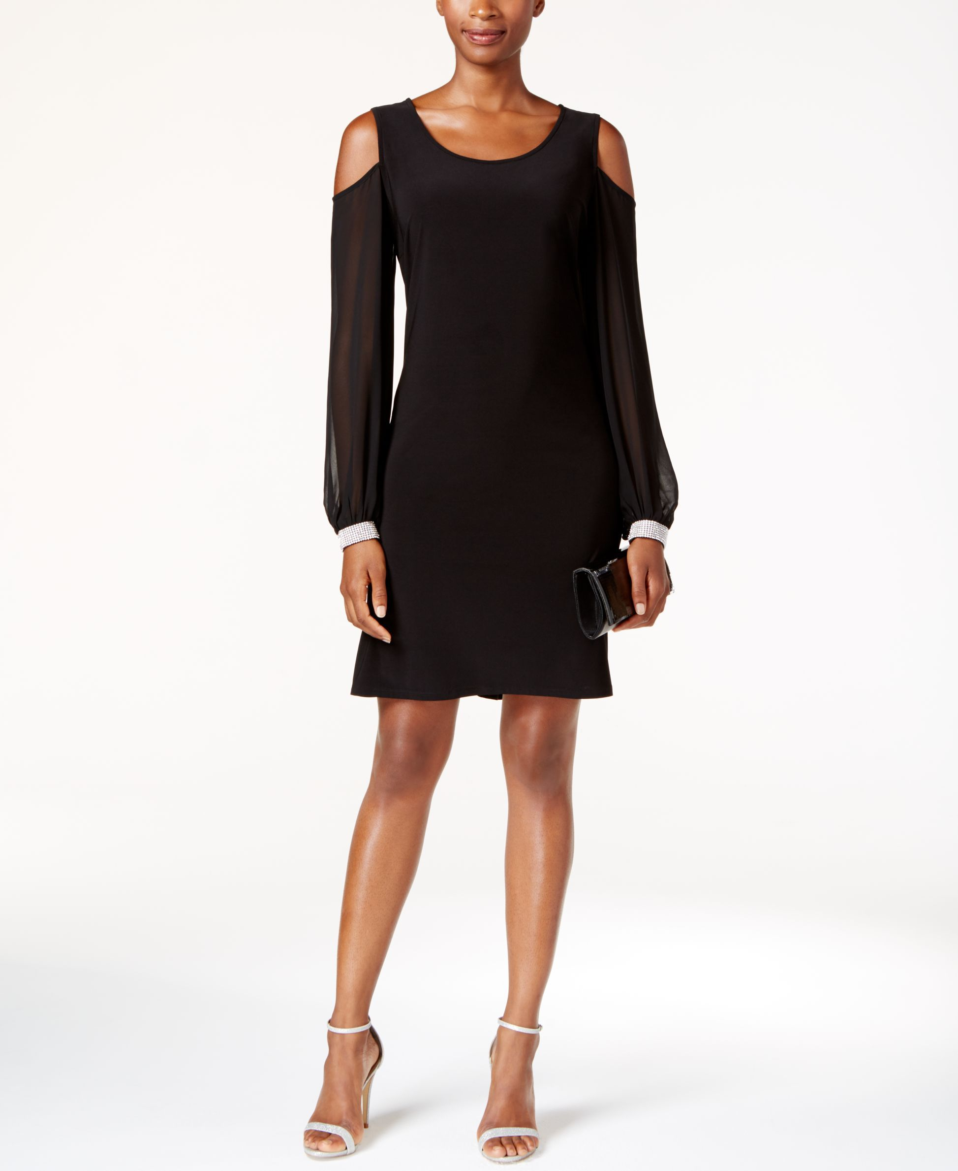 MSK Embellished Cold-Shoulder Cocktail Dress - Dresses - Women - Macy's
