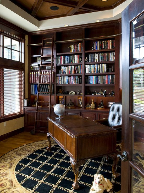 Spaces library ladders design pictures remodel decor and ideas page 3 rolling library Traditional home library design ideas