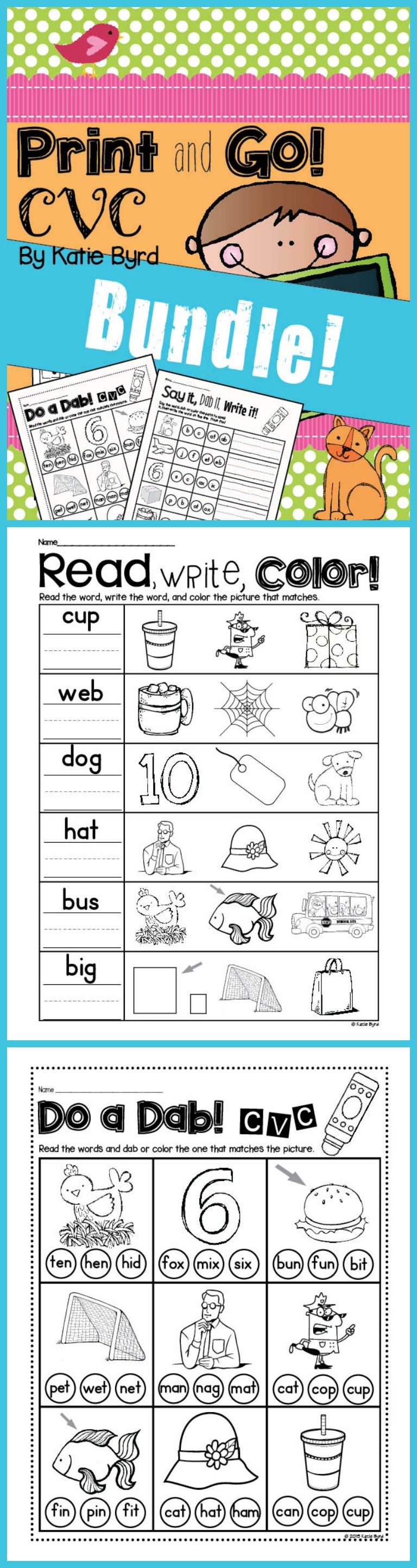 Print page color word 2010 - Print And Go Bundle Cvc Word Work And Literacy Practice No Prep