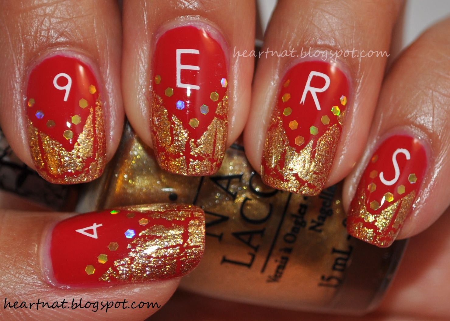 football team nail designs | heartnat: Red and Gold Forty Niner ...