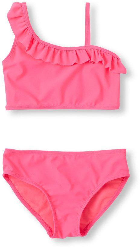 Girl's Ruffle One-Shoulder Bikini