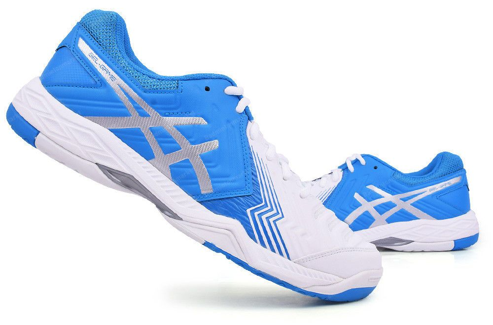 Asics Gel-Game 6 Men's Tennis Shoes Racket Racquet White Blue GEL E755Y-0143
