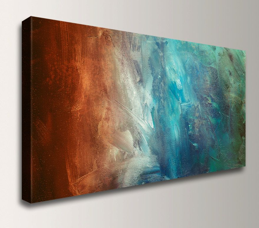Panoramic Art Abstract Painting Reproduction Canvas Print Turquoise Teal Red Rust Wall Decor Large Canvas Wall Art Panoramic Art Modern Art Abstract
