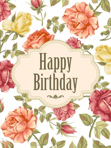 Elegant Birthday Rose Card   ДЕНЬ РОЖДЕНИЯ ДЕТИ Happy Birthday ...