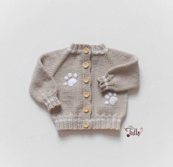 074089e44 Knit baby sweater merino jacket wool sweater paw applique beige ...