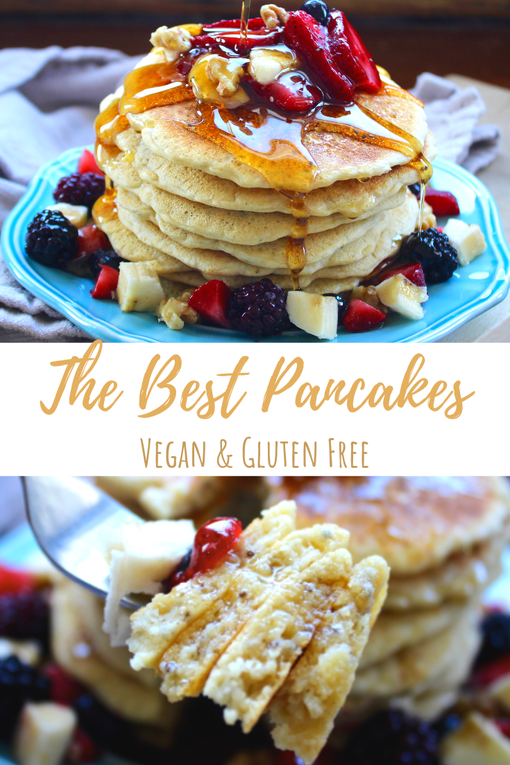 These vegan gluten free pancakes are light and fluffy, easy and simple with just a few ingredients! #glutenfreebreakfasts
