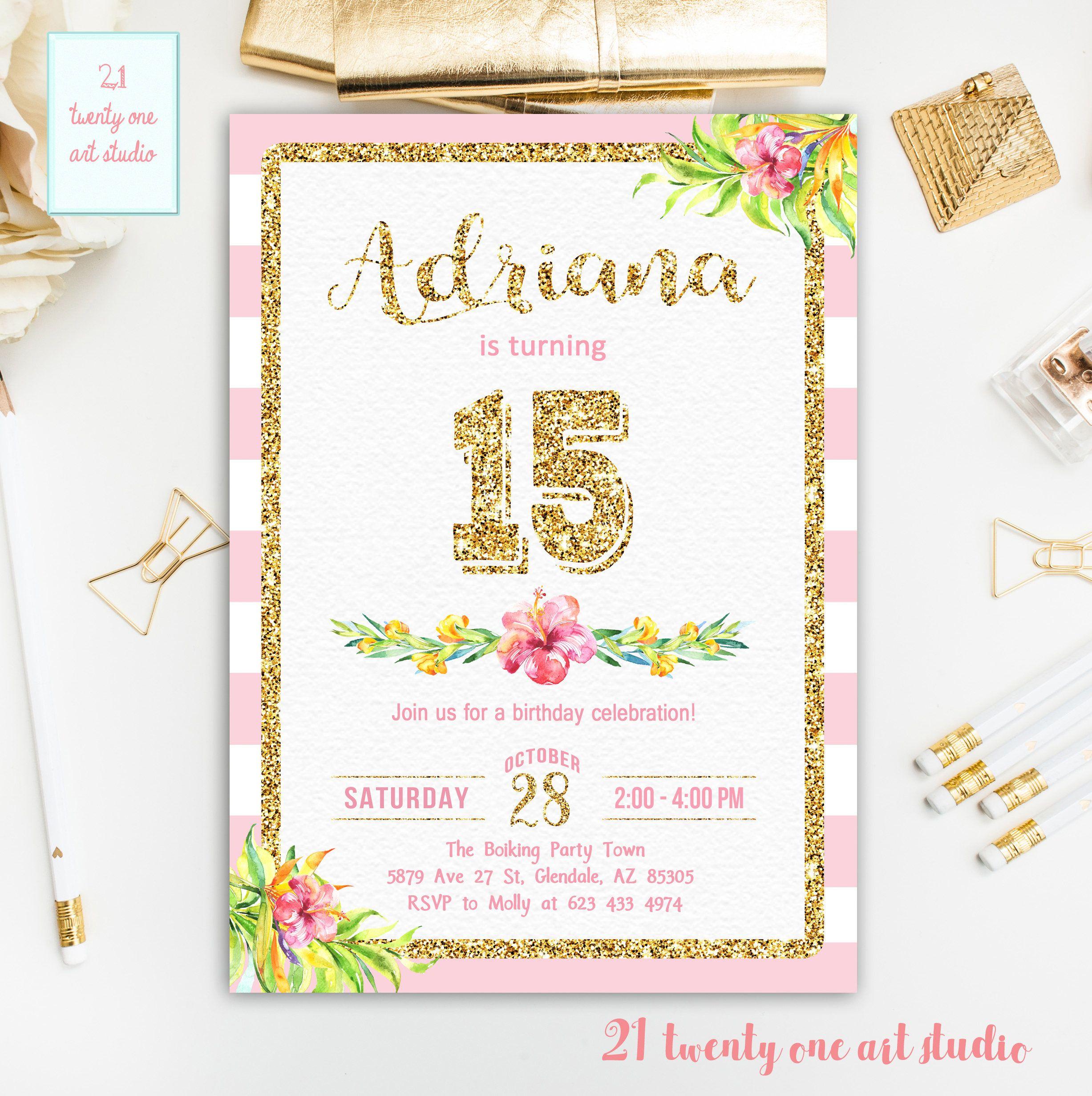 Pink and Gold Birthday Invitation, Fifteen Birthday Invitation, 15th ...