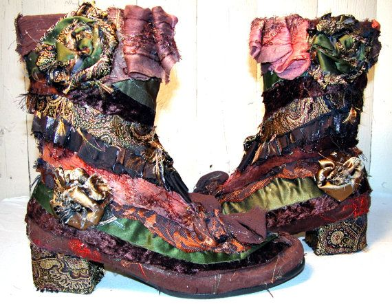 Boho Earth Mother Patchwork Elf Boots