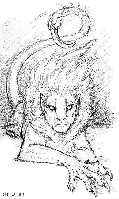 Manticore in profile - Mythic Scribes