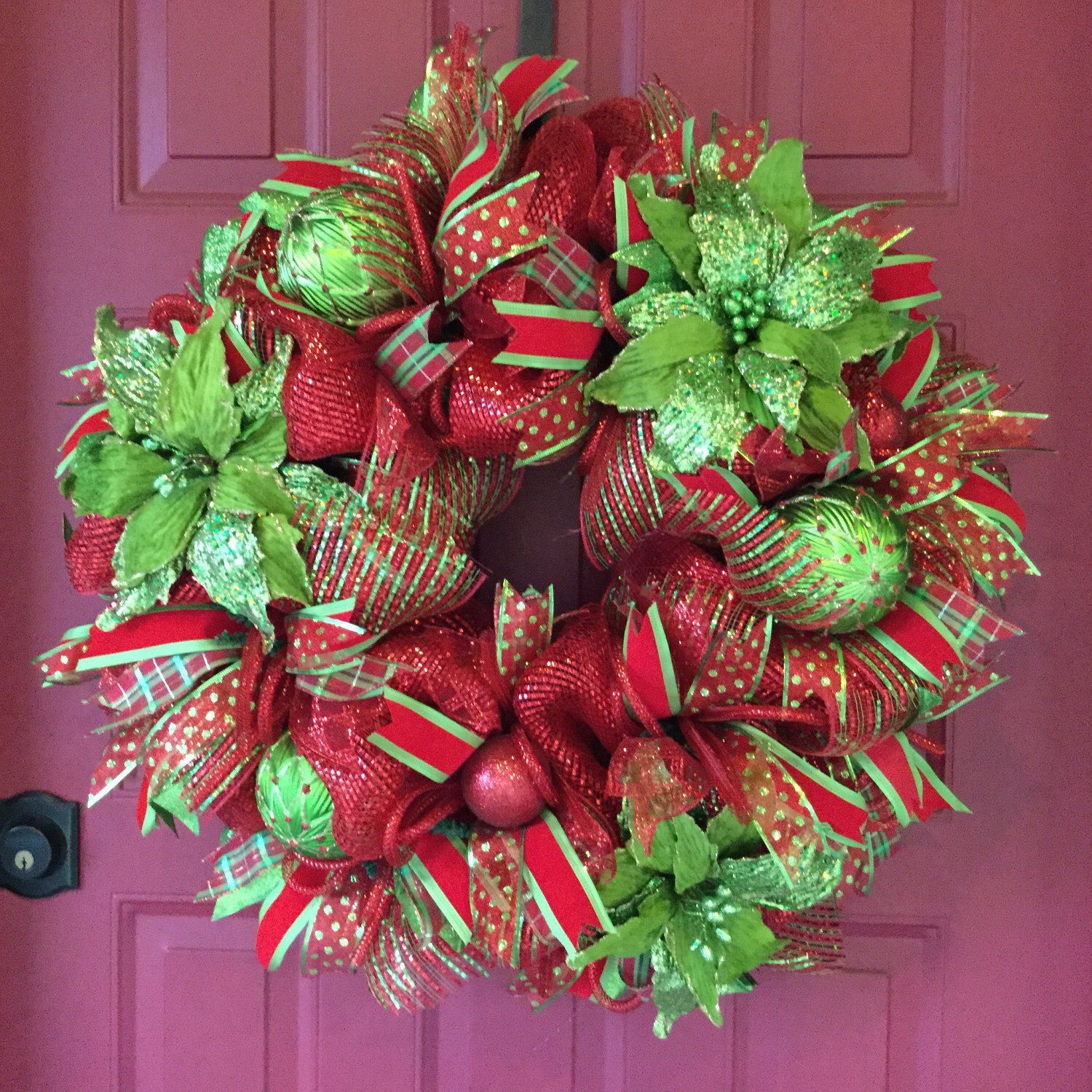 Front door deco mesh christmas decorations - Christmas Deco Mesh Wreath With Poinsettias Poinsettia Wreath Door Wreath For Winter Winter Holiday Decor Red And Green Holiday Wreath