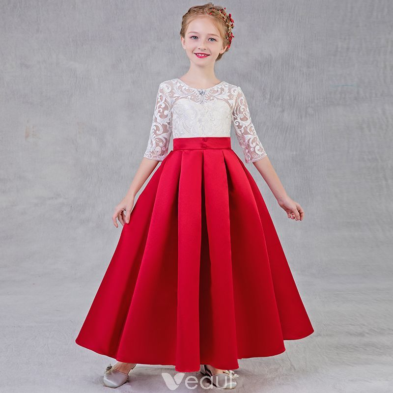 875f25becf5 Chic   Beautiful Red Flower Girl Dresses 2018 A-Line   Princess Scoop Neck 1